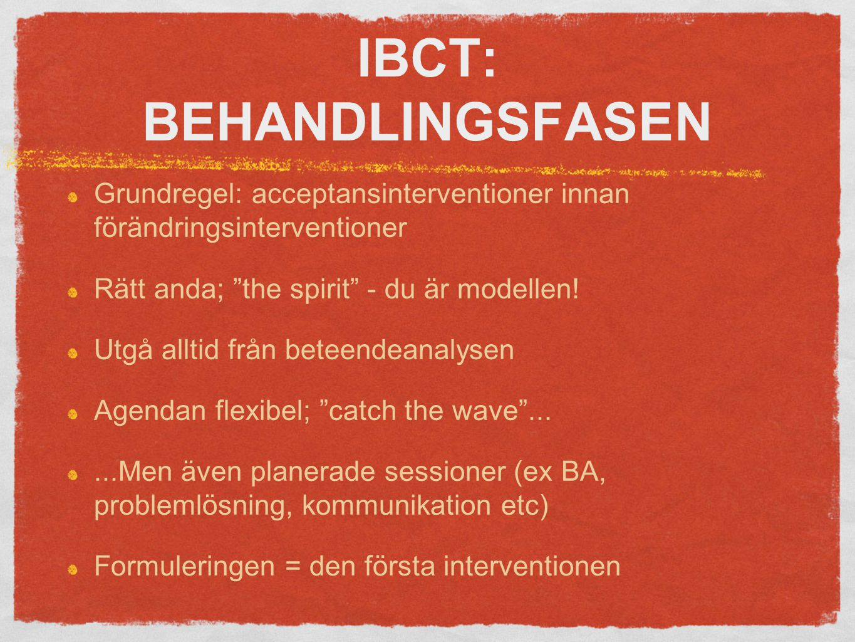 IBCT: BEHANDLINGSFASEN