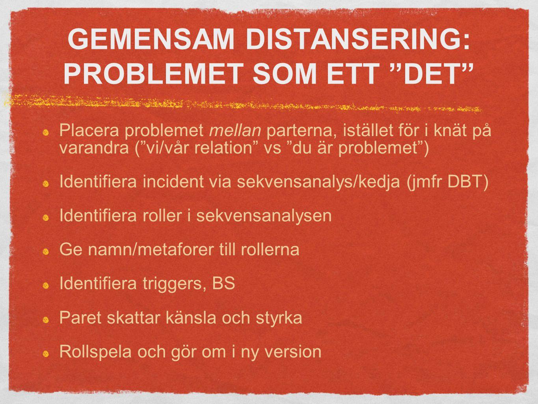GEMENSAM DISTANSERING: PROBLEMET SOM ETT DET