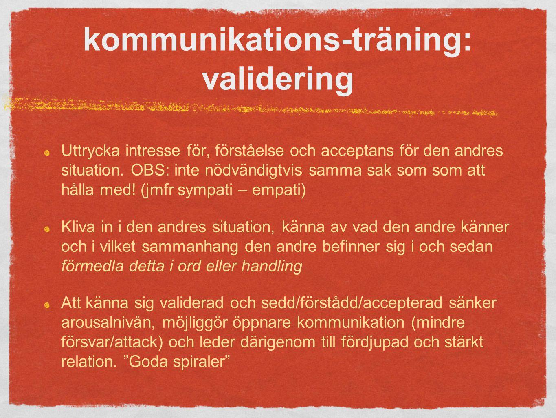 kommunikations-träning: validering