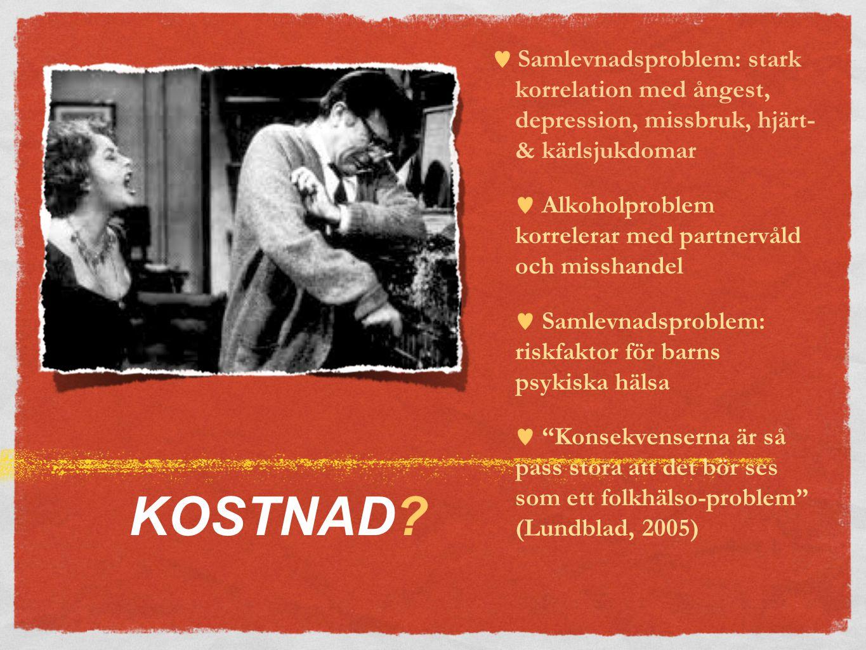  Samlevnadsproblem: stark korrelation med ångest, depression, missbruk, hjärt- & kärlsjukdomar  Alkoholproblem korrelerar med partnervåld och misshandel  Samlevnadsproblem: riskfaktor för barns psykiska hälsa  Konsekvenserna är så pass stora att det bör ses som ett folkhälso-problem (Lundblad, 2005)