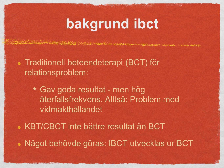 bakgrund ibct Traditionell beteendeterapi (BCT) för relationsproblem: