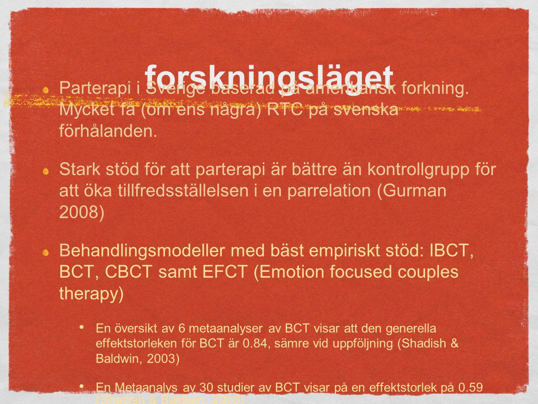 forskningsläget Parterapi i Sverige baserad på amerikansk forkning. Mycket få (om ens några) RTC på svenska förhålanden.