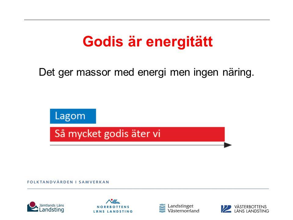 Godis är energitätt Det ger massor med energi men ingen näring.