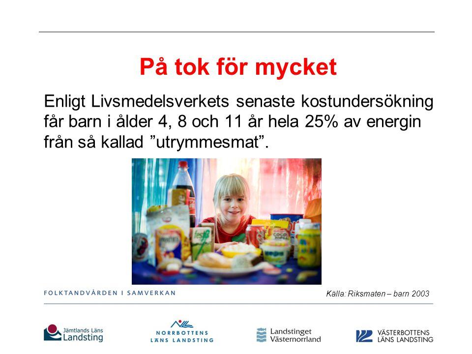 På tok för mycket Enligt Livsmedelsverkets senaste kostundersökning får barn i ålder 4, 8 och 11 år hela 25% av energin från så kallad utrymmesmat .