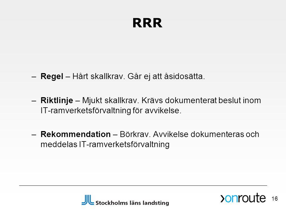 RRR Regel – Hårt skallkrav. Går ej att åsidosätta.