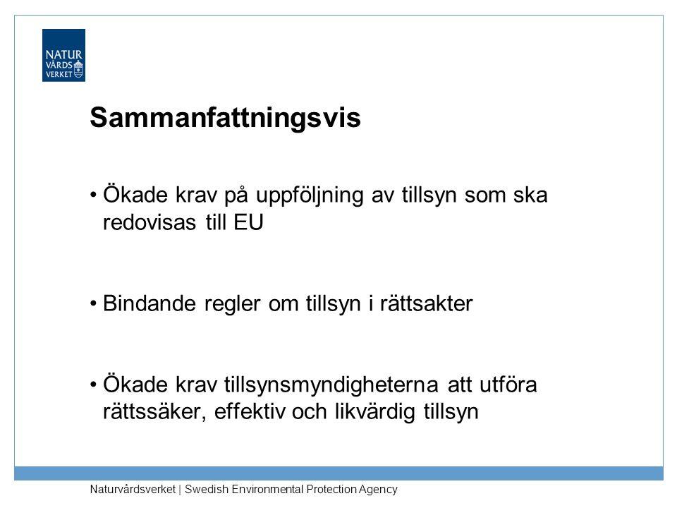 Sammanfattningsvis Ökade krav på uppföljning av tillsyn som ska redovisas till EU. Bindande regler om tillsyn i rättsakter.