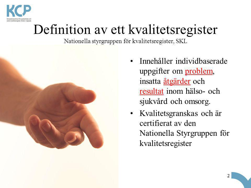 Definition av ett kvalitetsregister Nationella styrgruppen för kvalitetsregister, SKL
