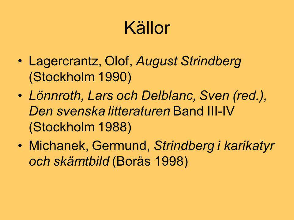 Källor Lagercrantz, Olof, August Strindberg (Stockholm 1990)