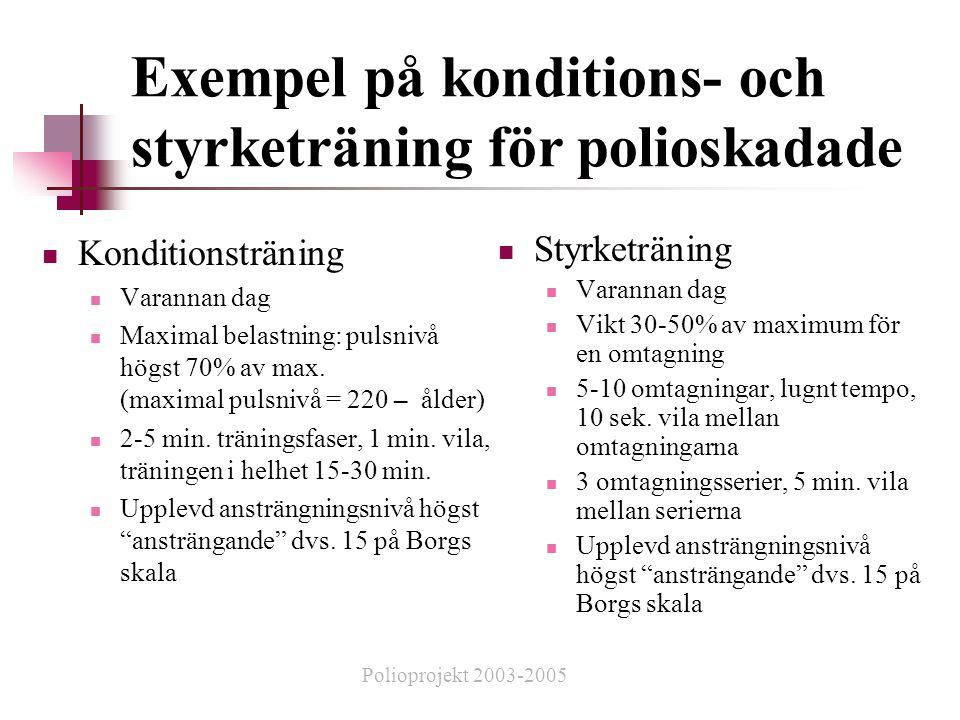 Exempel på konditions- och styrketräning för polioskadade