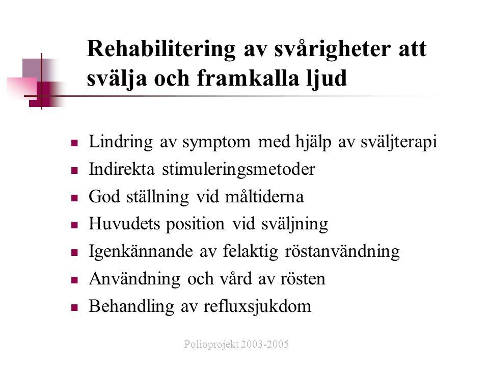 Rehabilitering av svårigheter att svälja och framkalla ljud