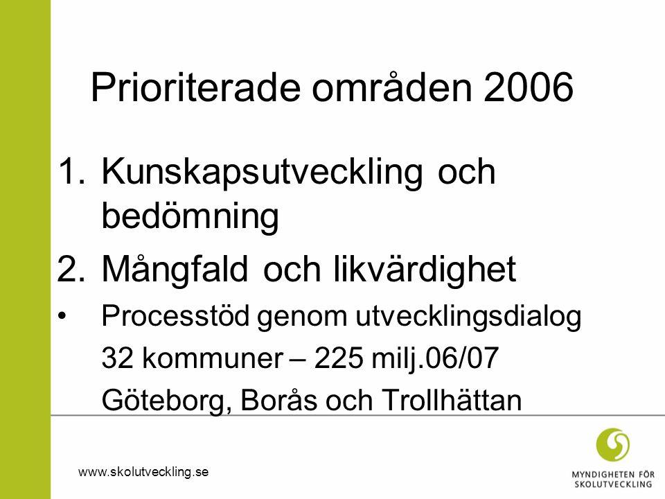 Prioriterade områden 2006 Kunskapsutveckling och bedömning