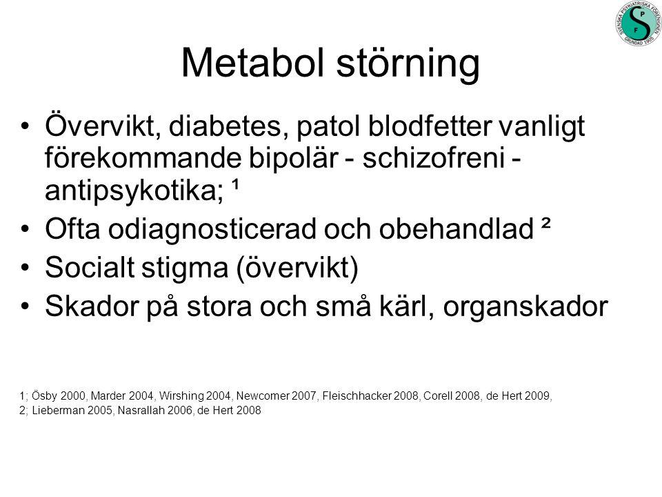Metabol störning Övervikt, diabetes, patol blodfetter vanligt förekommande bipolär - schizofreni - antipsykotika; ¹.