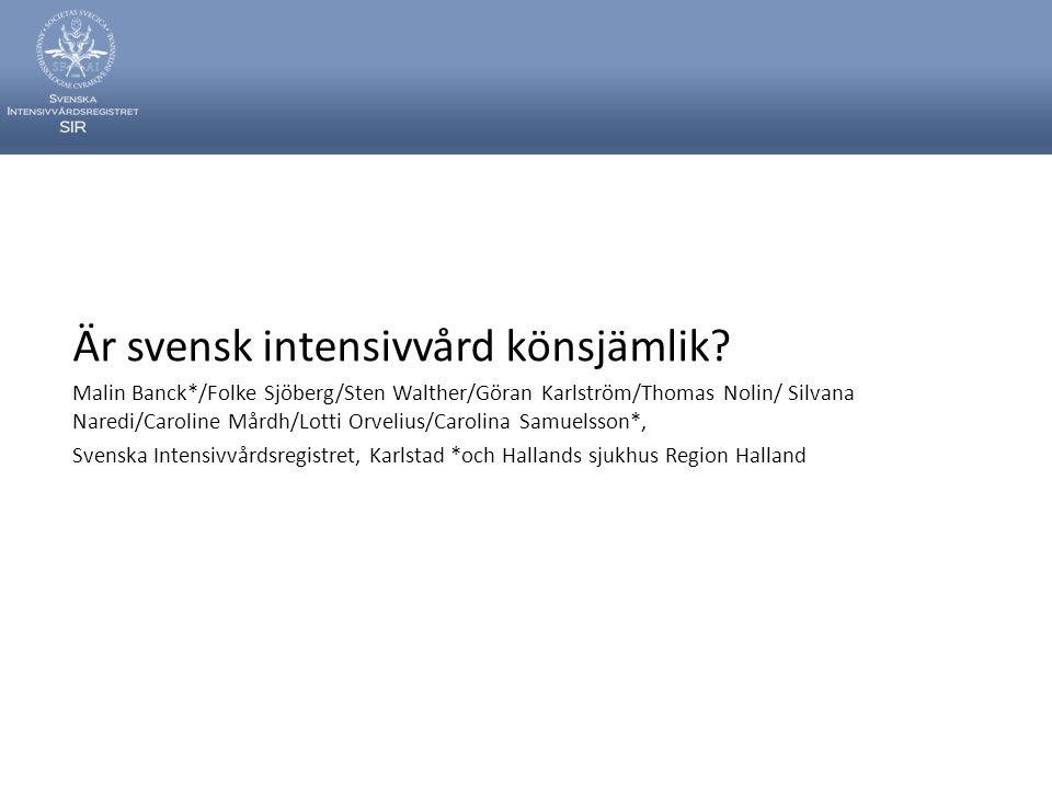 Är svensk intensivvård könsjämlik