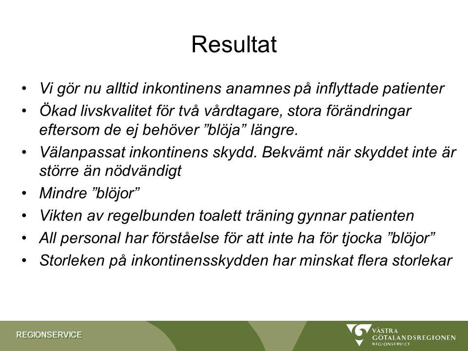 Resultat Vi gör nu alltid inkontinens anamnes på inflyttade patienter