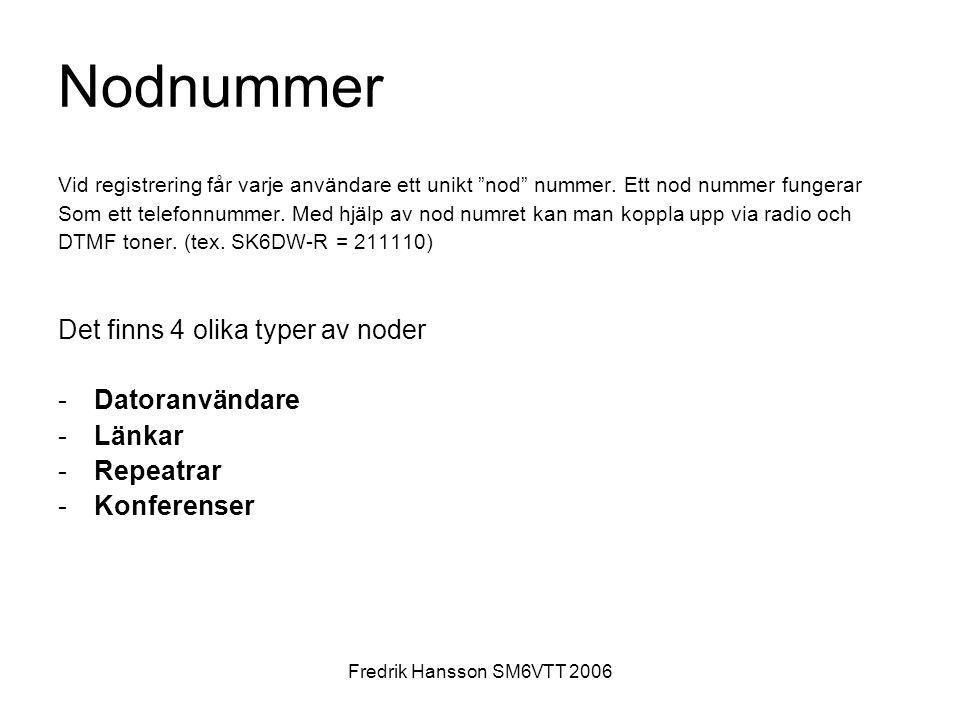 Nodnummer Det finns 4 olika typer av noder Datoranvändare Länkar