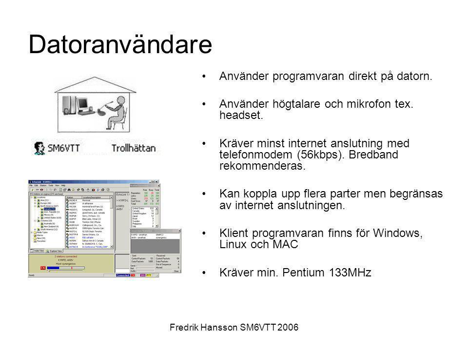 Datoranvändare Använder programvaran direkt på datorn.