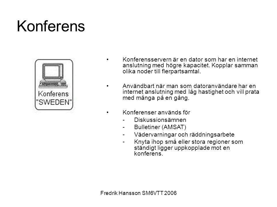 Konferens Konferensservern är en dator som har en internet anslutning med högre kapacitet. Kopplar samman olika noder till flerpartsamtal.