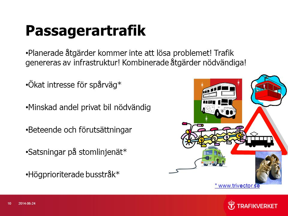 Passagerartrafik Planerade åtgärder kommer inte att lösa problemet! Trafik genereras av infrastruktur! Kombinerade åtgärder nödvändiga!