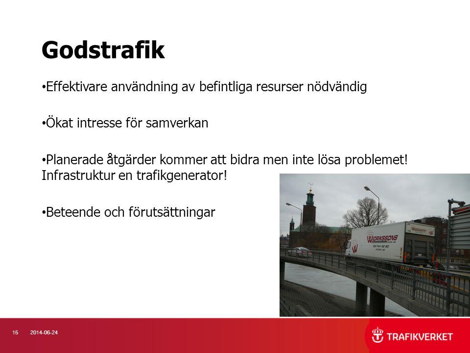 Godstrafik Effektivare användning av befintliga resurser nödvändig