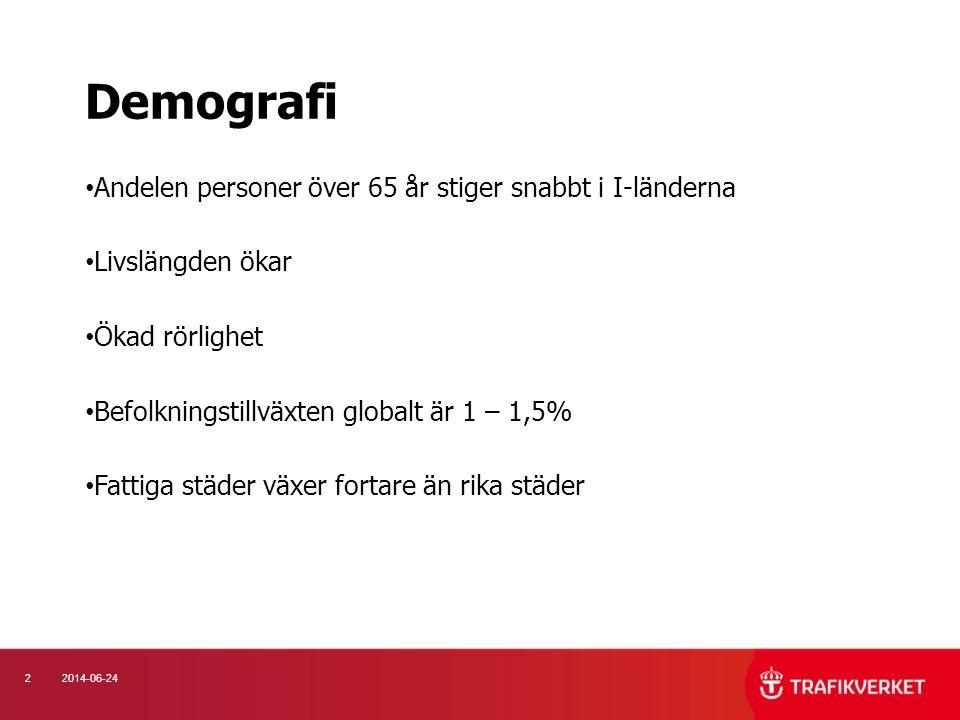 Demografi Andelen personer över 65 år stiger snabbt i I-länderna