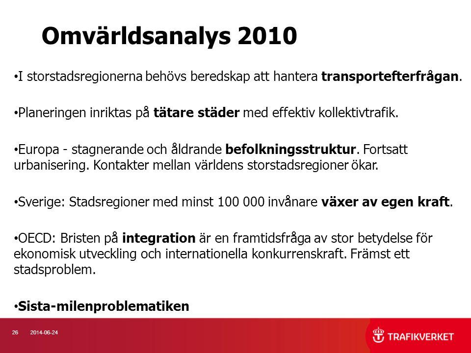 Omvärldsanalys 2010 I storstadsregionerna behövs beredskap att hantera transportefterfrågan.
