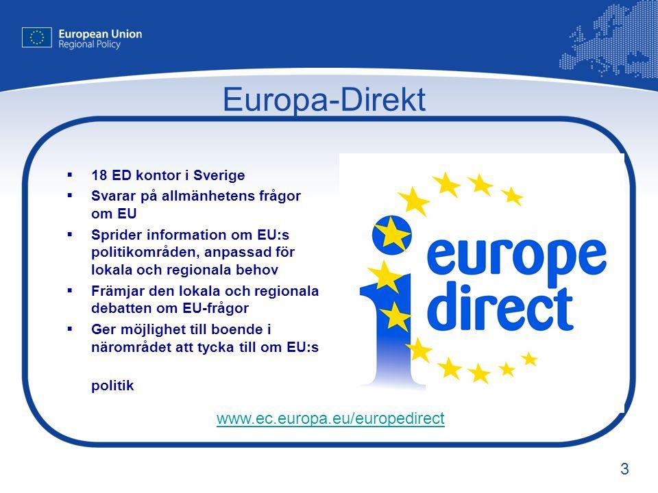 Europa-Direkt www.ec.europa.eu/europedirect 18 ED kontor i Sverige