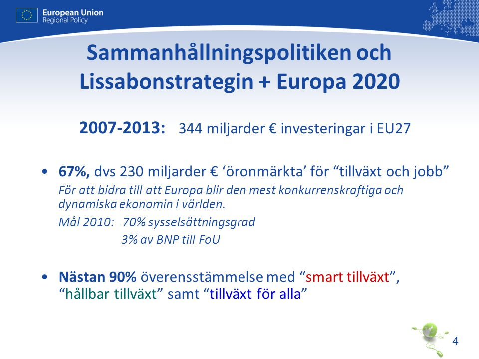 Sammanhållningspolitiken och Lissabonstrategin + Europa 2020