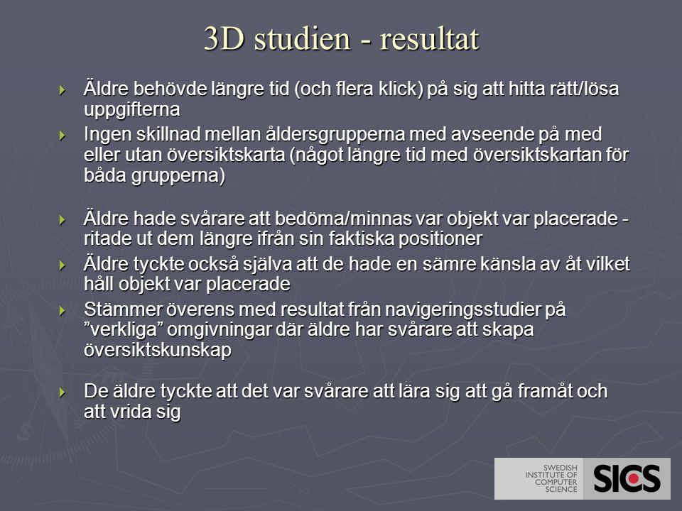 3D studien - resultat Äldre behövde längre tid (och flera klick) på sig att hitta rätt/lösa uppgifterna.