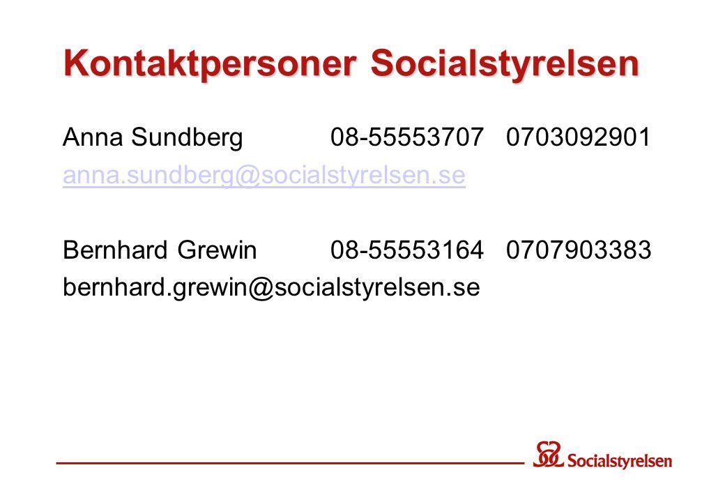 Kontaktpersoner Socialstyrelsen