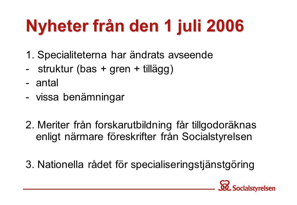 Nyheter från den 1 juli 2006 1. Specialiteterna har ändrats avseende