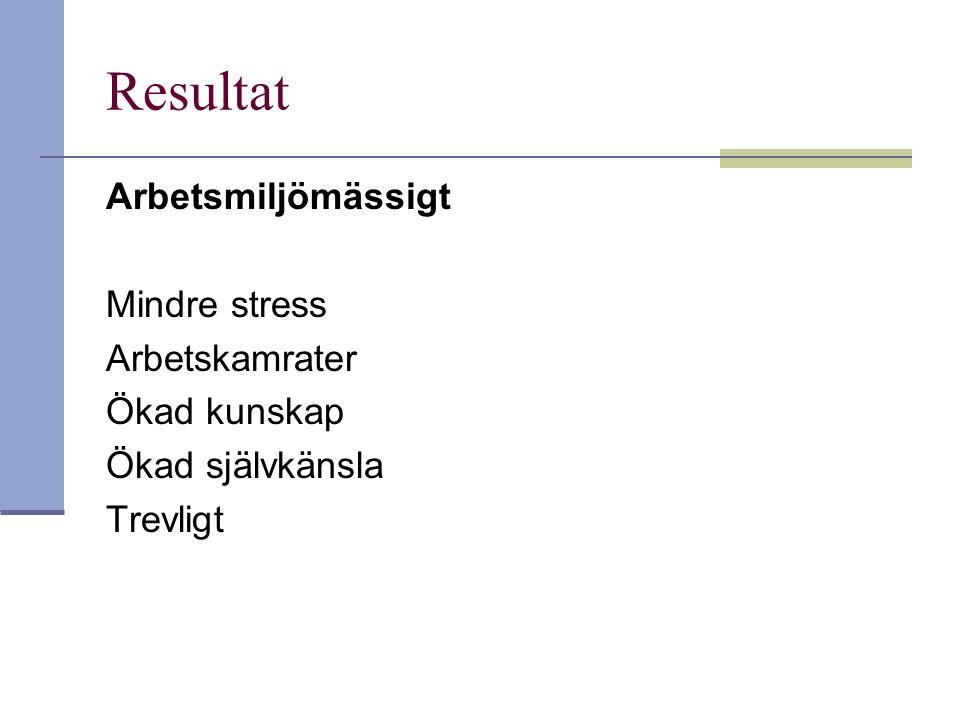 Resultat Arbetsmiljömässigt Mindre stress Arbetskamrater Ökad kunskap