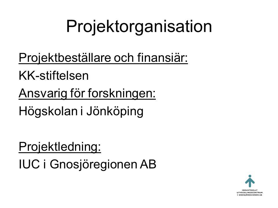 Projektorganisation Projektbeställare och finansiär: KK-stiftelsen