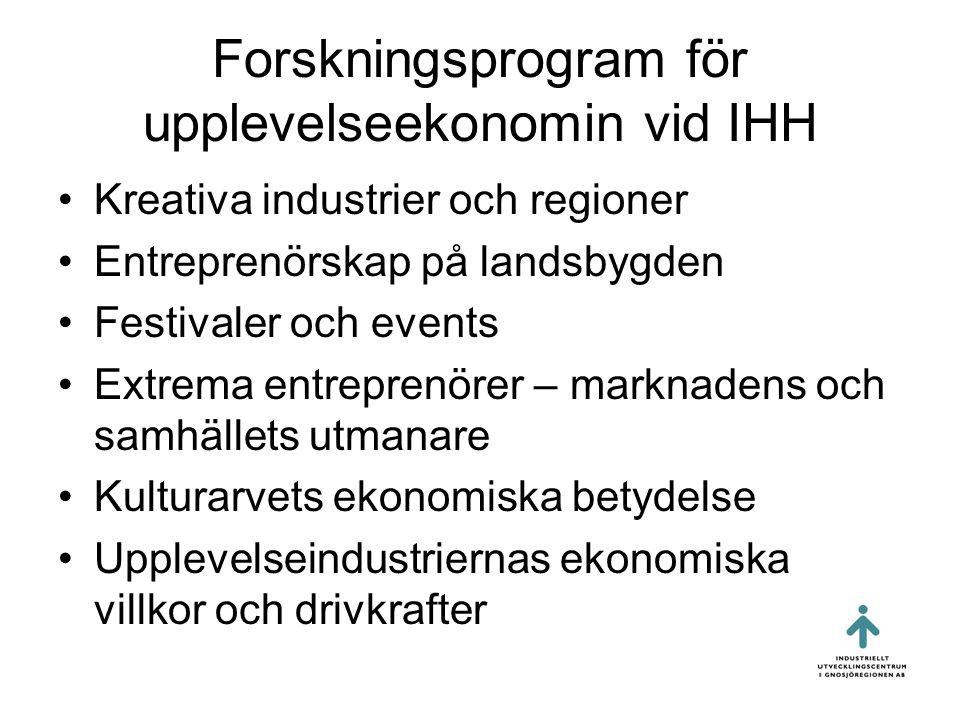 Forskningsprogram för upplevelseekonomin vid IHH