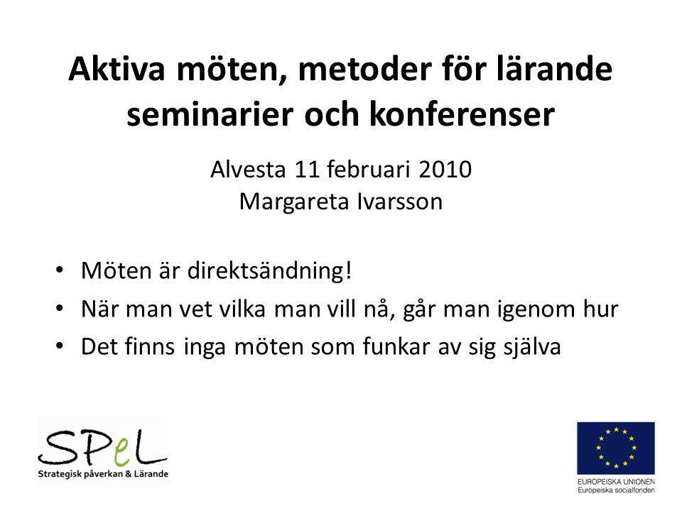 Aktiva möten, metoder för lärande seminarier och konferenser