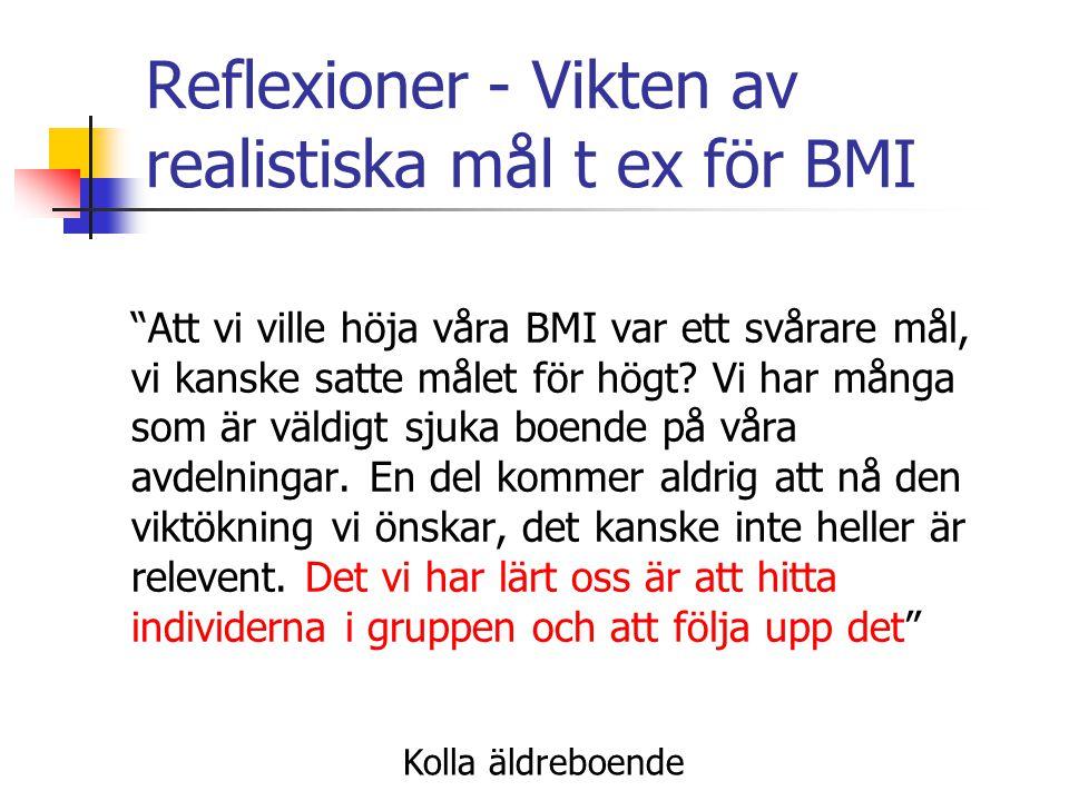Reflexioner - Vikten av realistiska mål t ex för BMI