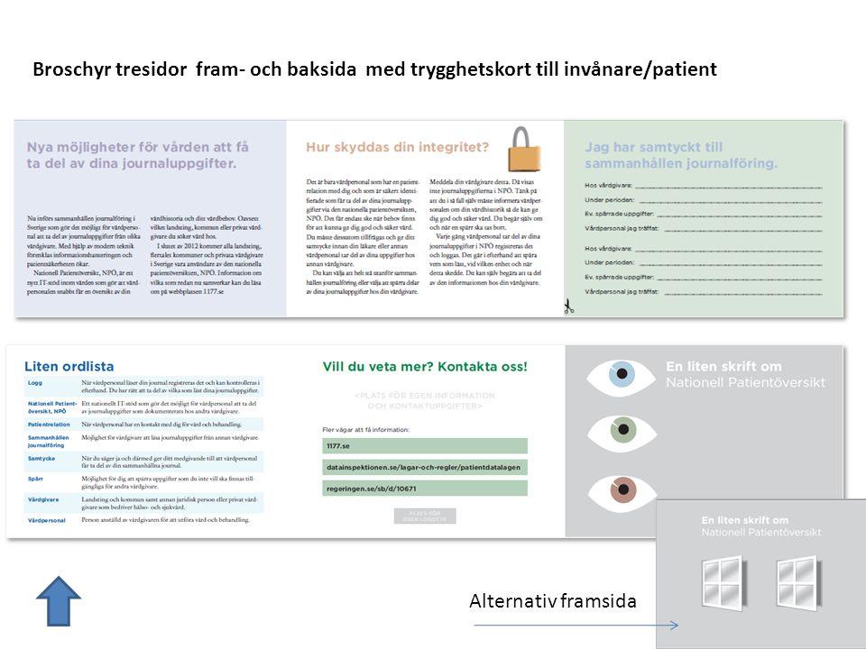 Broschyr tresidor fram- och baksida med trygghetskort till invånare/patient