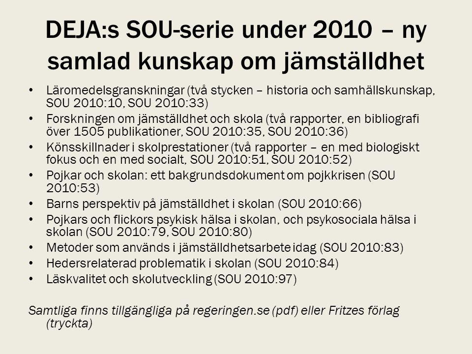 DEJA:s SOU-serie under 2010 – ny samlad kunskap om jämställdhet