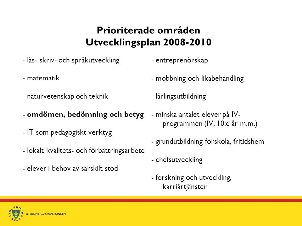 Prioriterade områden Utvecklingsplan 2008-2010