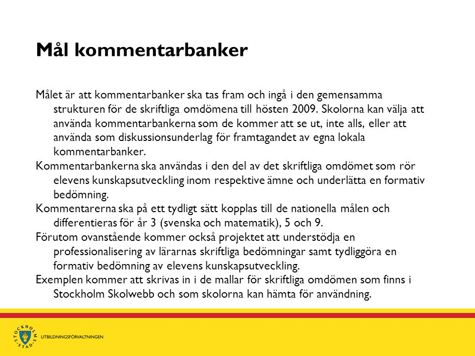 Mål kommentarbanker