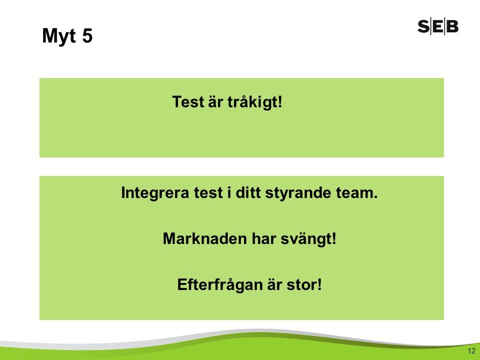 Integrera test i ditt styrande team.