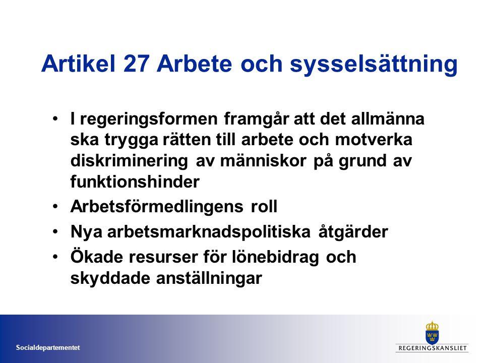 Artikel 27 Arbete och sysselsättning