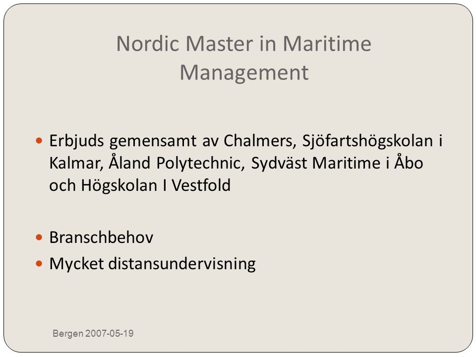Nordic Master in Maritime Management