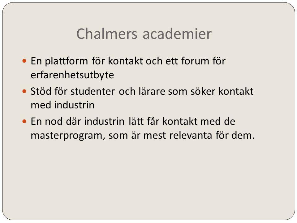 Chalmers academier En plattform för kontakt och ett forum för erfarenhetsutbyte. Stöd för studenter och lärare som söker kontakt med industrin.