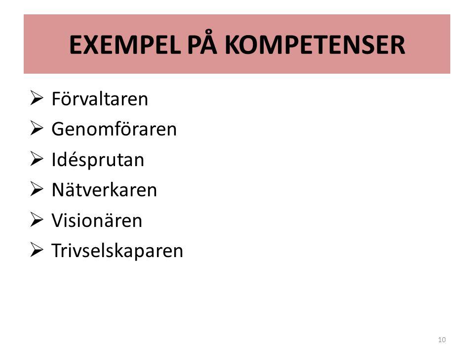 EXEMPEL PÅ KOMPETENSER