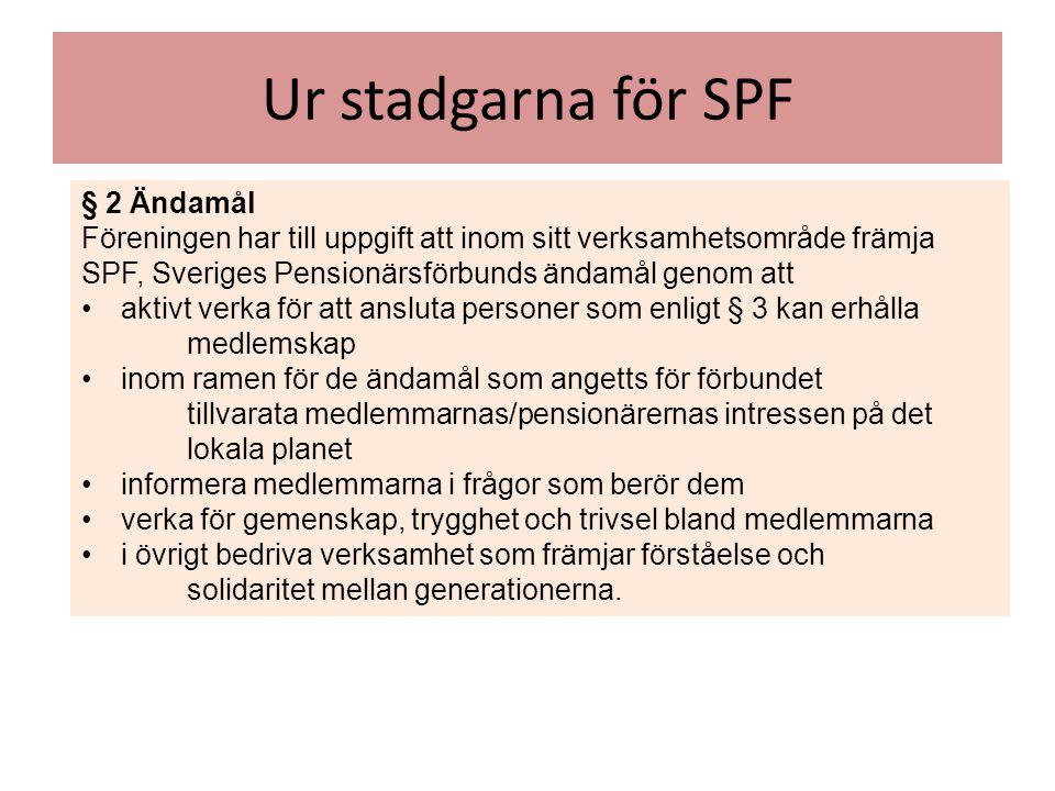 Ur stadgarna för SPF § 2 Ändamål