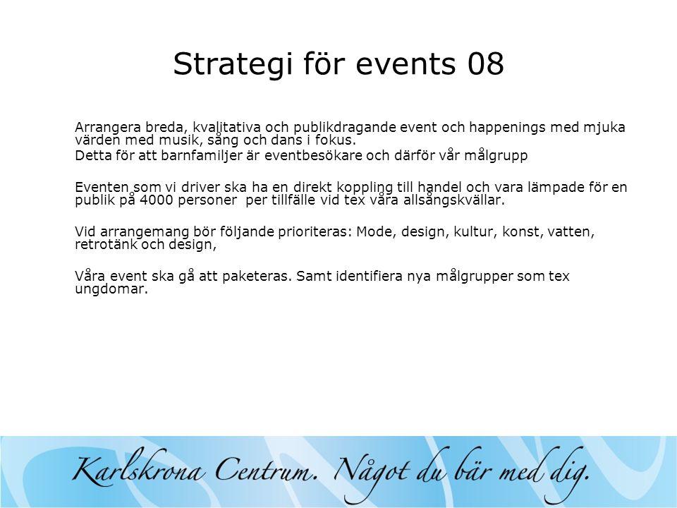 Strategi för events 08 Arrangera breda, kvalitativa och publikdragande event och happenings med mjuka värden med musik, sång och dans i fokus.