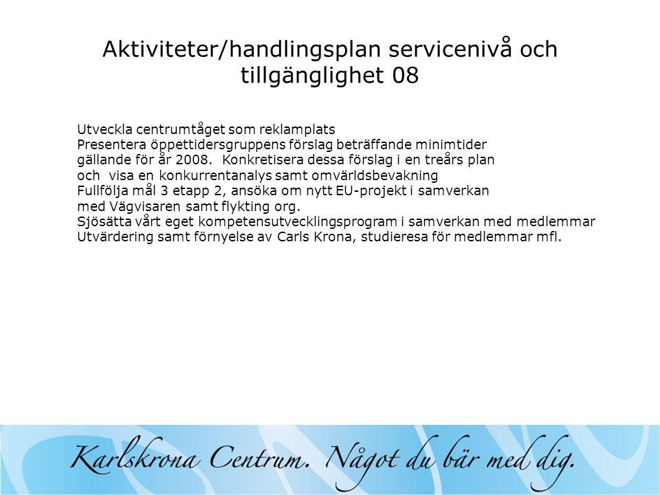 Aktiviteter/handlingsplan servicenivå och tillgänglighet 08