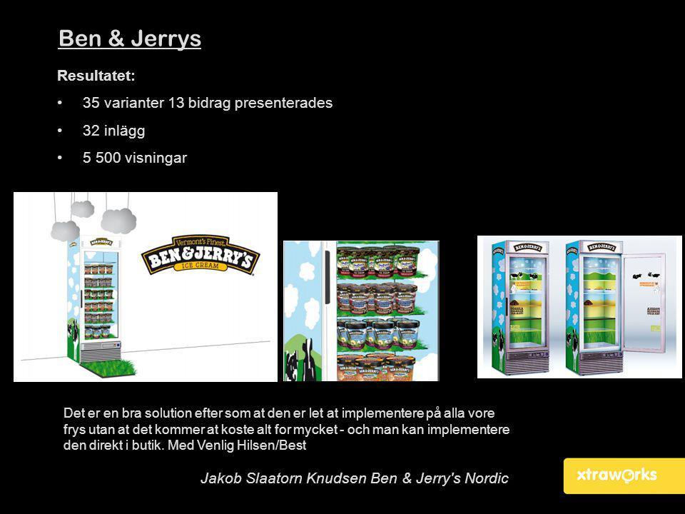 Ben & Jerrys Resultatet: 35 varianter 13 bidrag presenterades