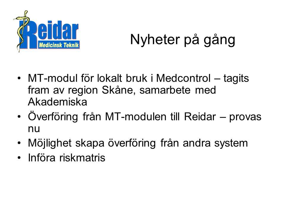 Nyheter på gång MT-modul för lokalt bruk i Medcontrol – tagits fram av region Skåne, samarbete med Akademiska.