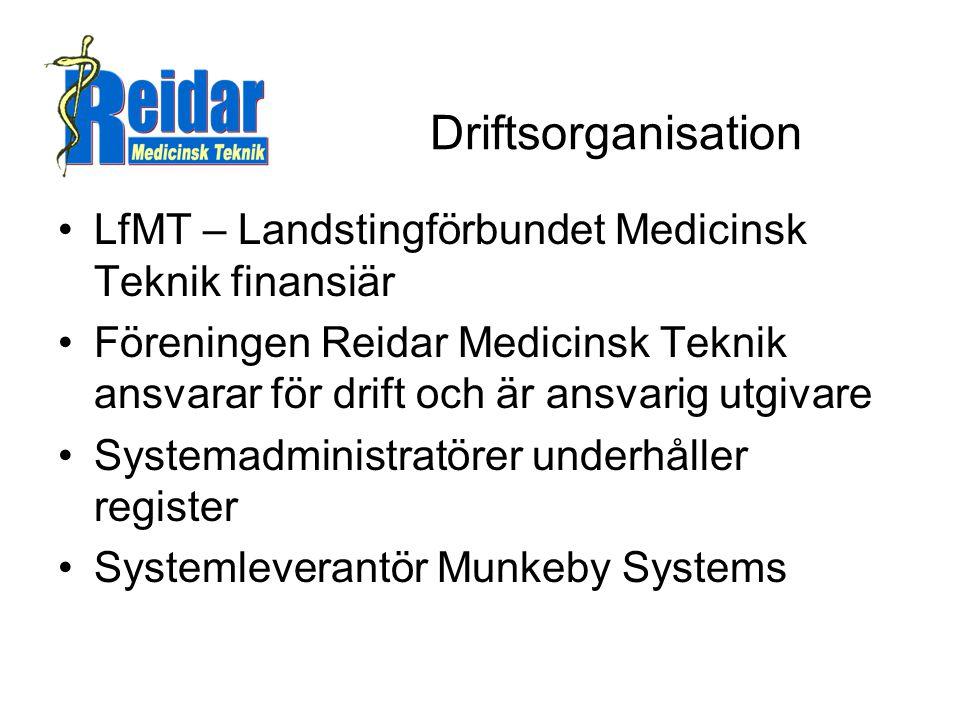 Driftsorganisation LfMT – Landstingförbundet Medicinsk Teknik finansiär.